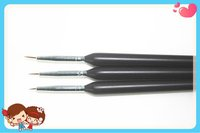 3 Pcs Black Nail Art Brush Set For Nail Painting