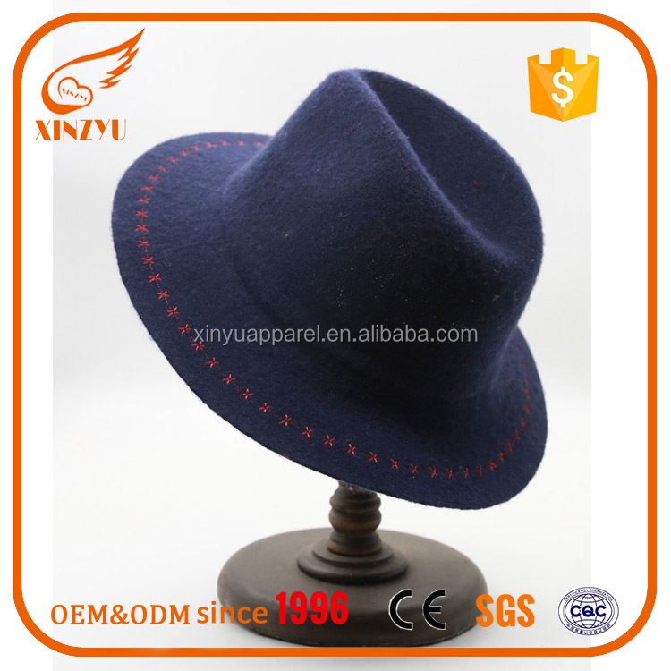 Top Quality Wide Brim Felt Hillbilly Hat Embroidery Logo Wholesale Felt Hat