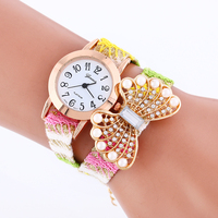 Watches Women Top Brand Luxury Multi-Layer PU Leather Beads Butterfly Wrist Watch warp Vintage Bracelet