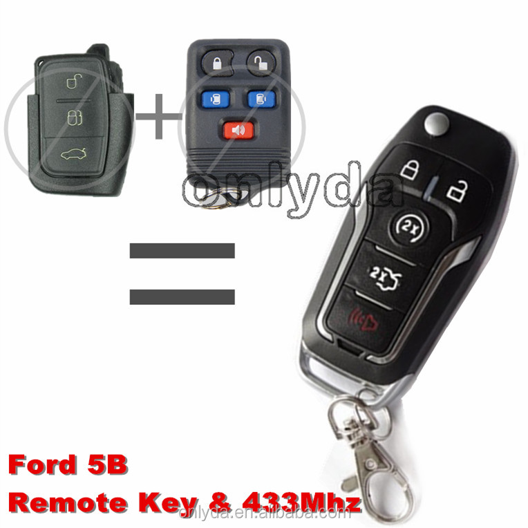 high quality ford 5 button automatic remote key with 433MHZ