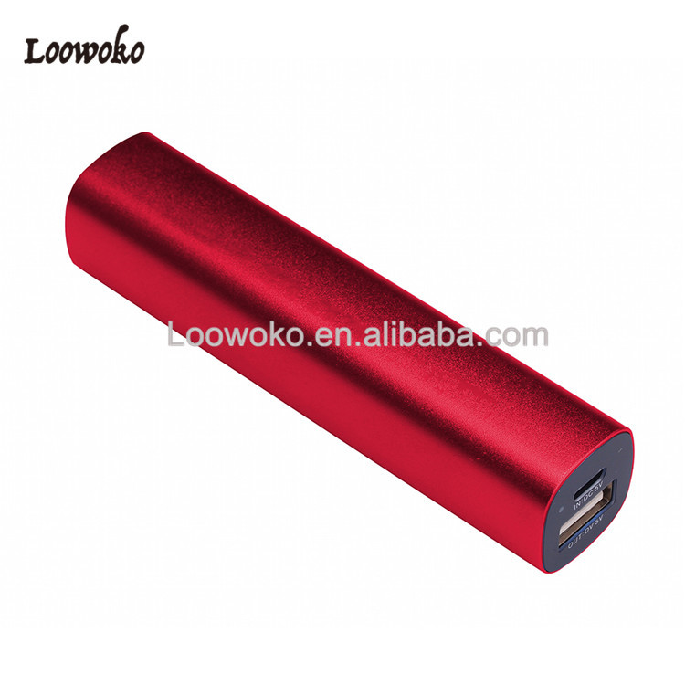 Aluminum Portable Battery 2600mah Power Bank For Cell Phones