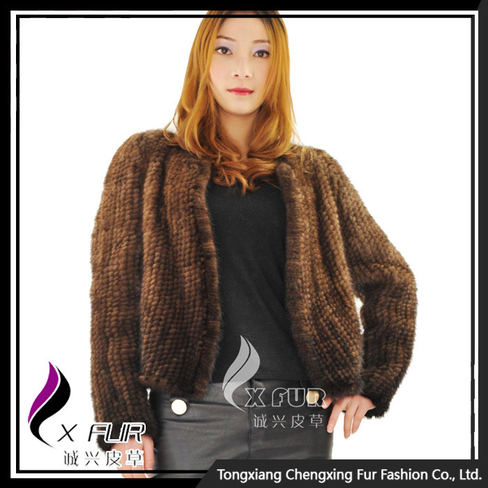 CX-G-A-196A 2014 Ladies New Fashion Coat Mink kintted Fur Coat