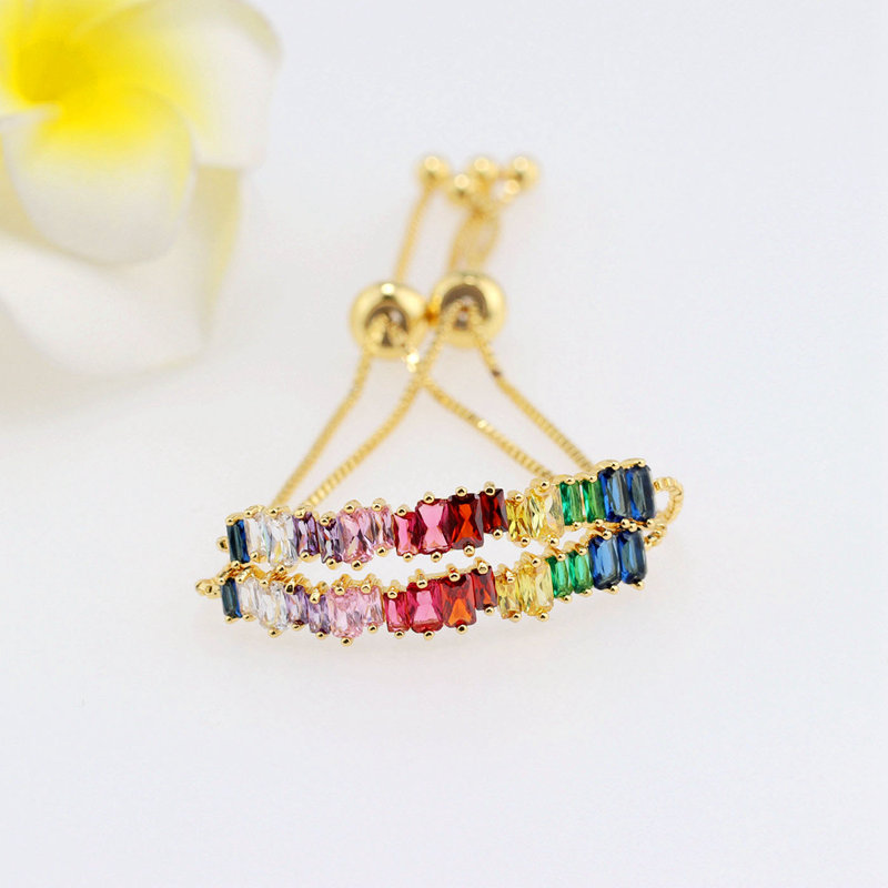 gold plated rainbow stone bracelet color bracelet rainbow <strong>jewelry</strong>