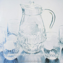 Printing LOGO engraved pitcher drinking Water glass set Glass Pitcher