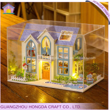 Hot sale with light and furniture miniature dollhouse plans for dolls house