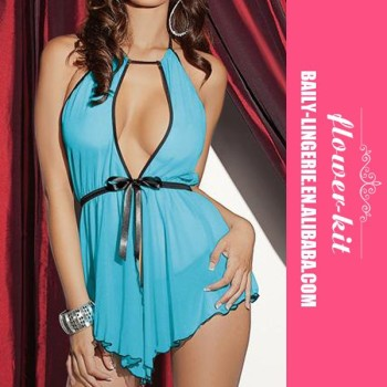 Wholesale lingerie see through sexy blue satin lingerie