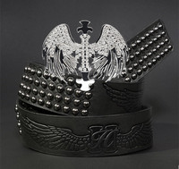Europe style high quality leather rivet jeans belt for men