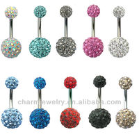 Crystal Disco Ball Ferido Double Ball Belly Bar Navel Belly Ring Piercing Jewelry BER-001