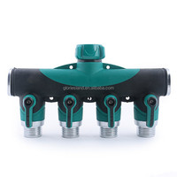 4 Way Garden Hose Connector| Hose to Hose Arthritis Friendly Watering Splitter, Leak Free
