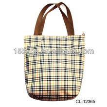 2012 Fashion checked promotion polyester tote bag