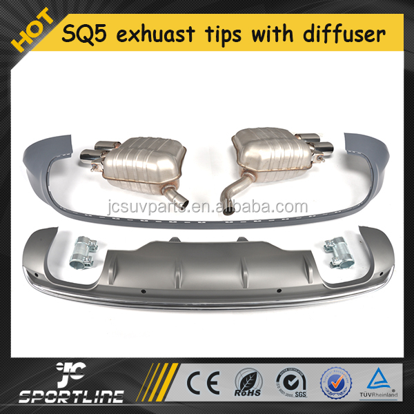 Q5 to SQ5 PP Exhaust Tips with Rear Bumper Diffuser for Audi Q5 2013