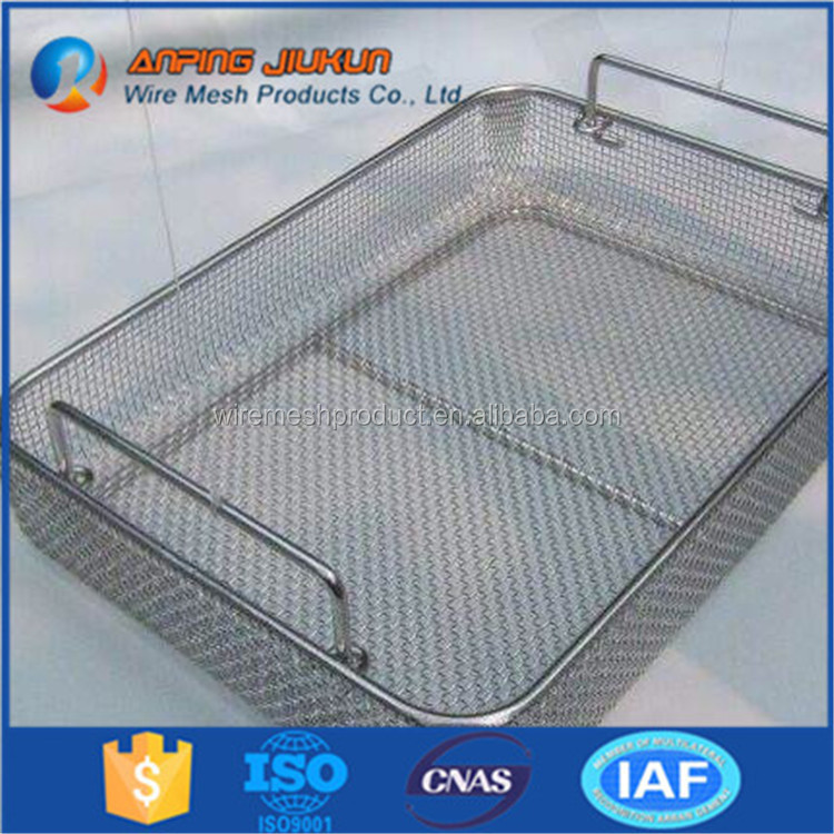 Hot selling steel foldable space saving chef basket sterilization trays and basket