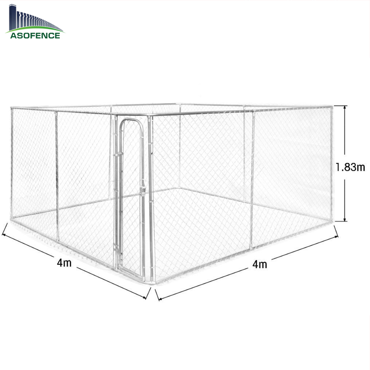 14x4x1.8 outdoor large metal chain link kennel dog house with roof