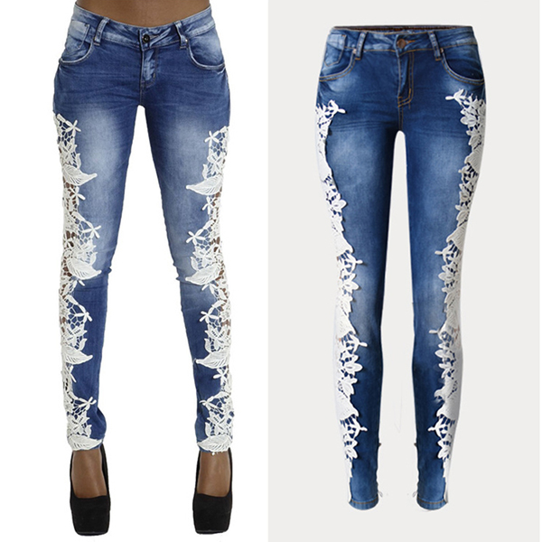 2016 Summer Fashion Women Fancy See Through Jean Trousers Ladies Sexy Lace Patchwork Vogue Narrow Bottom New Model Jeans Pants