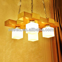 Wood base square glass lampshade for home