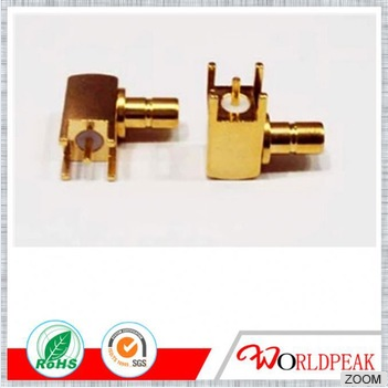 SMB Male Right Angle Bulkhead RF Connector for PCB Mount