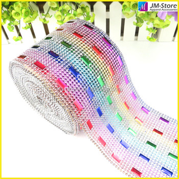 Wholesale Rectangle Coloerful Studs Plastic Rhinestone Roll Mesh Trimming For DIY Decoration
