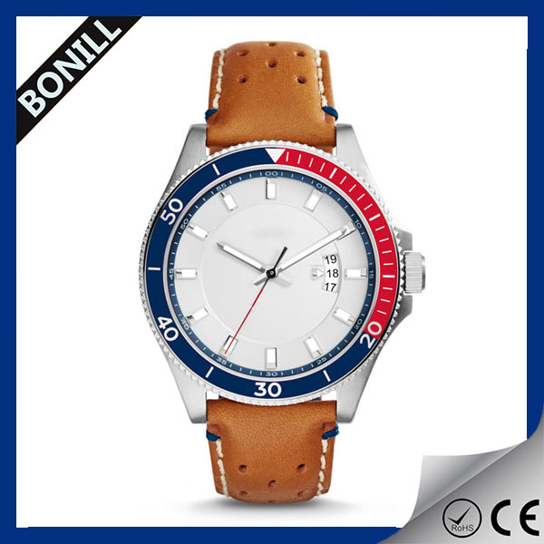 Leather wrist watch men sport leather strap wrist watches