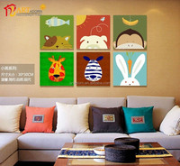 Simple animal canvas painting interior wall decoration 3 panel