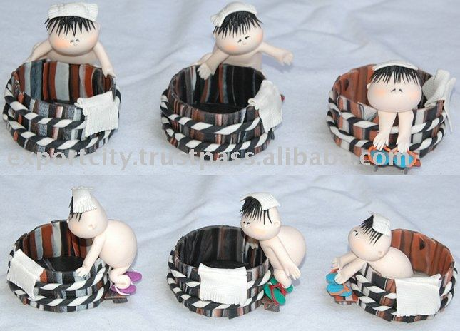 Handmade clay doll japanese baby sumobucket .. clip box clip holder