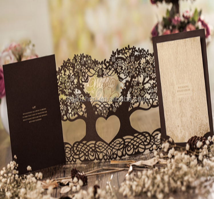 heart shape laser cut wedding invitation and greeting card with ribbon