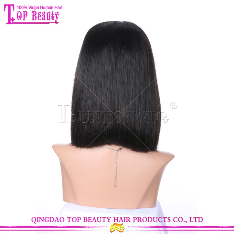 New style wholesale cheap price remy indian human hair short bob full lace wig with bangs for black women