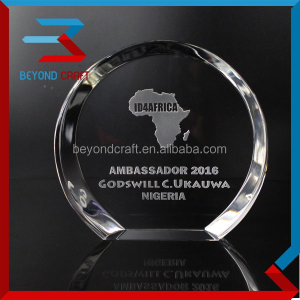 Round Shape Crystal Plaque with Custom Logo Engraving