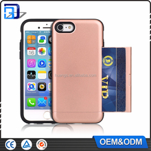 2017 Hot New Hybrid Dual Layer Armor Protective Case For iPhone 7 6 Shockproof Case Cover Wallet Sliding ID Credit Card Slot