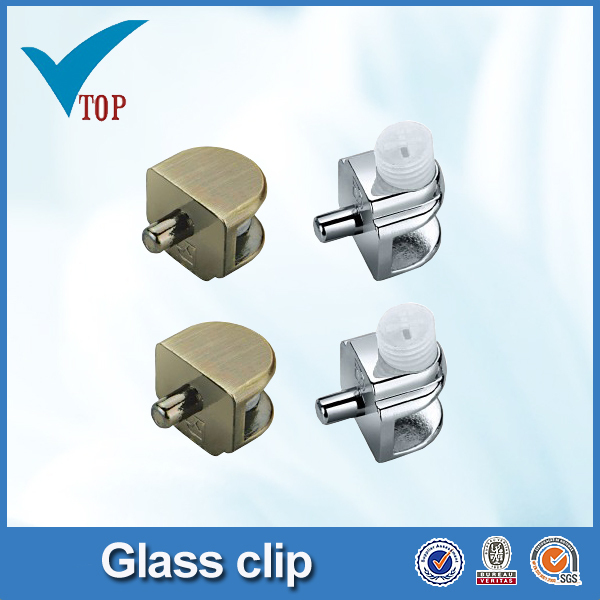 China supplier polishing chrome cabinet glass clip