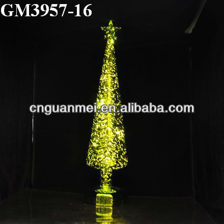 Wholesale green 2013 christmas tree decoration with led and star