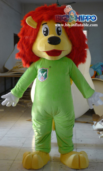 2015 new design Red hair green clothes lion Mascot Costume