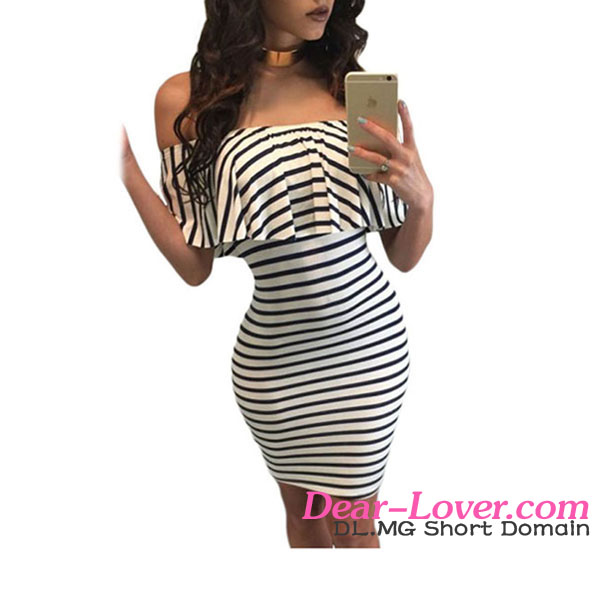 Black White Striped Off Shoulder Dress Sexy Girl Photos Without Dress