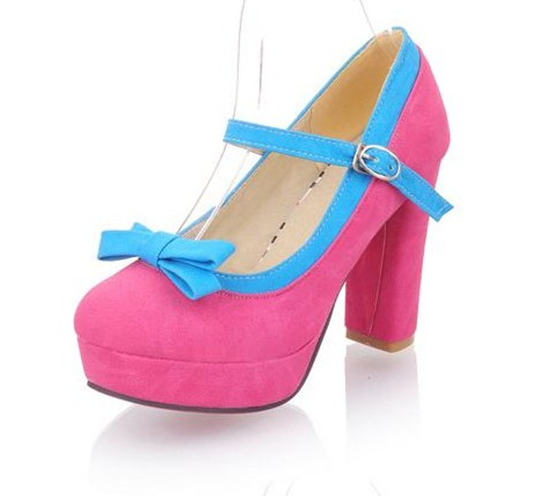 2013 spring and autumn pink platform thick heel single shoes plus size women's shoes 40 41 42 43