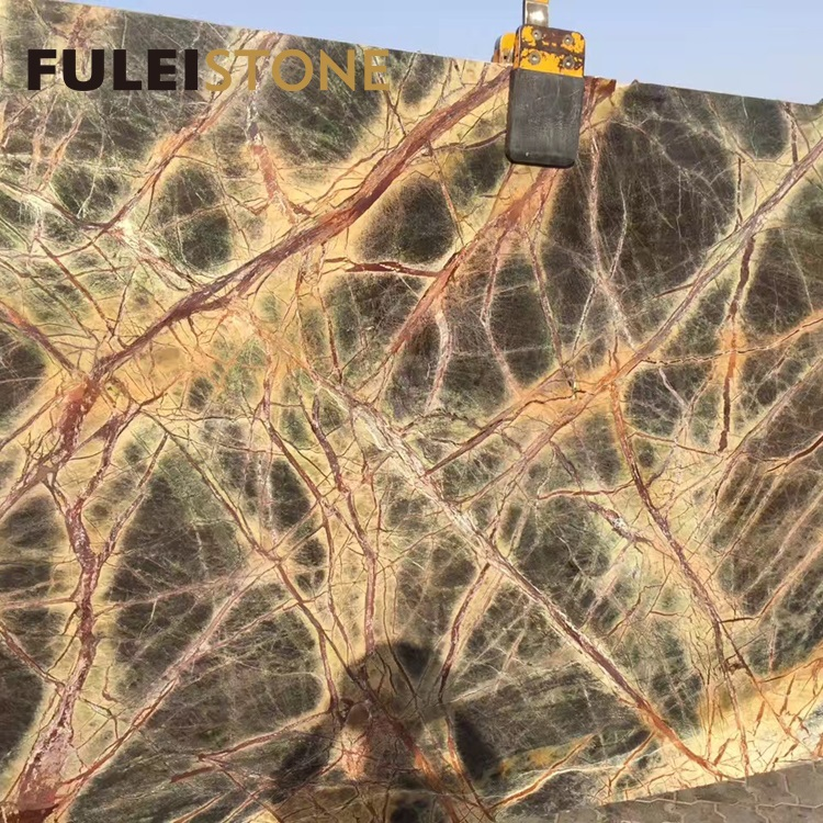 Indian Rainforest Green and Gold Marble Stone Slabs