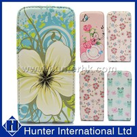 Flower Design PU Leather Case Cover For iphone