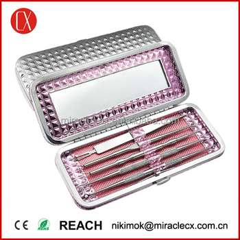 High quality stainless steel 5pcs beauty care tools diamond mirror casing nose blackhead remover