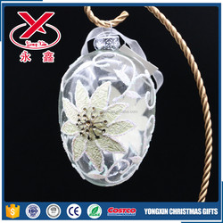 Wholesale hanging hand brown clear glass eggs painted with flower