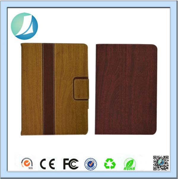 Wholesale wood skin wallet card holder leather tablet case for ipad air