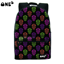 ONE2 design latest fashion skull pattern canvas school bag for boys
