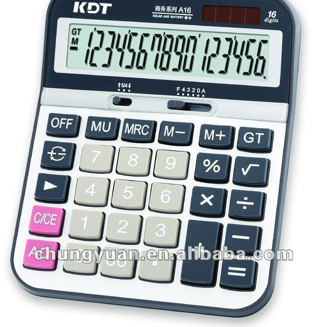 desktop calculator 16 digits Keys with double route display design A16