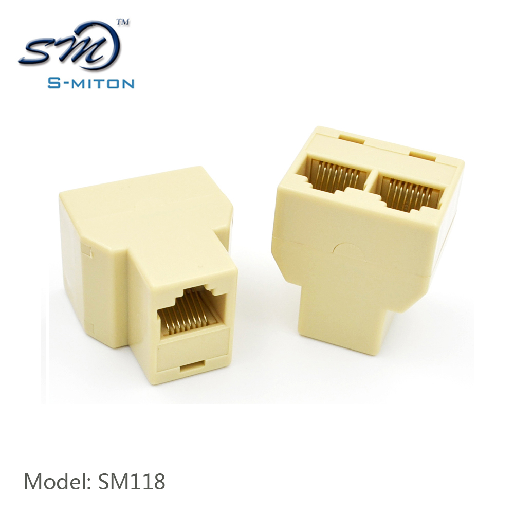 3 way 8 pin 8 core network adapter cat5 rj45 connector