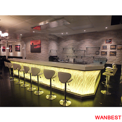 Factory Custom Marble Top Flower Pattern L Shape Led Lighted Cafe Restaurant Pub Bar Counter Design