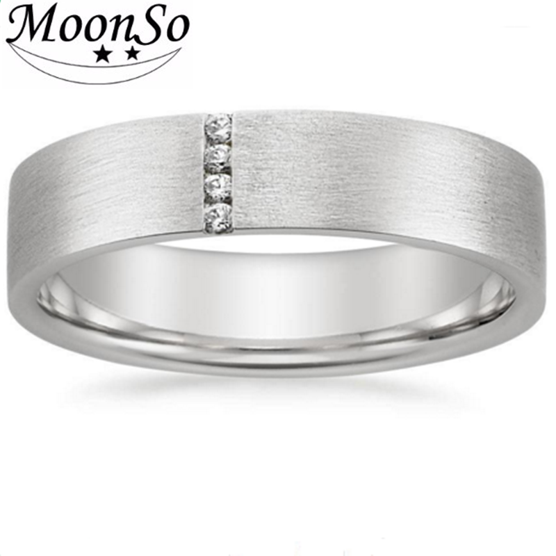 925 sterling silver ring with artificial diamond men's wedding ring Moonso KR2138S