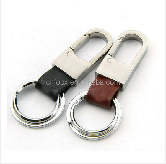 Leather Car Key Chain Ring / Metal Keyring Keychain / Belt Loops Leather Key Chain