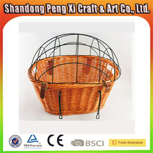 Wholesale round willow wicker bike basket for dog
