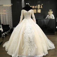 Wholesale Long Sleeve Lace Modest Patterns Bridal Gown Wedding Dress with long tail