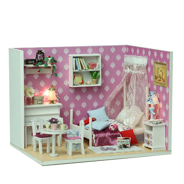Amazon hot sale education diy wooden music beautiful doll house