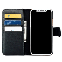 Flip noble black wallet genuine leather mobile cell phone cover case for iPhone X