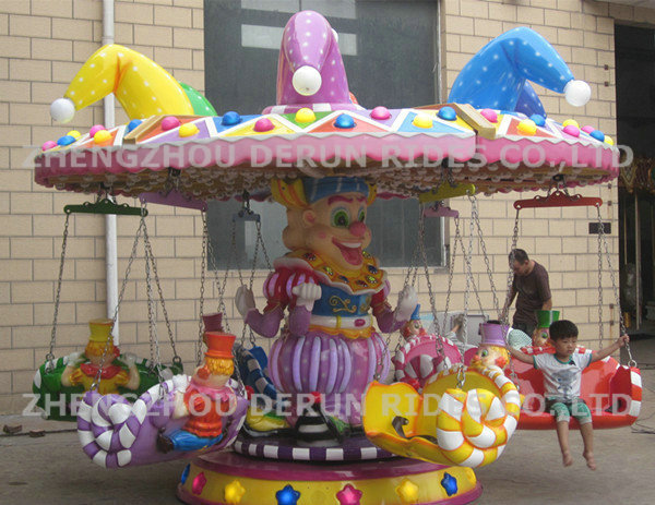 Hot Selling Carnival Amusement Mini Flying Chair Rides, Clown Wheeling for kids