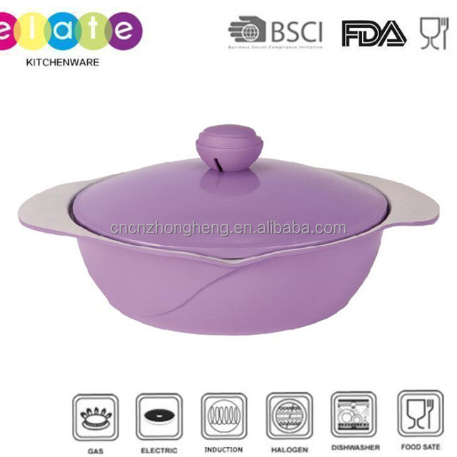 Best selling Rose design creamic shallow casserole with cast aluminum lid 28cm (Y-QTG1128)